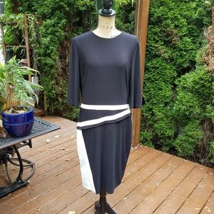 LAUREN black and white color spliced knit dress
